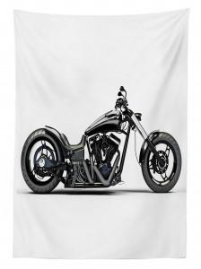 Siyah Motosiklet Desenli Masa Örtüsü Beyaz Zemin