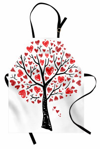 Tree with Hearts Leaves Art Apron