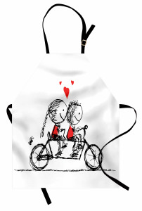 Couple Cycling Together Apron