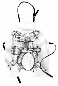 Schlagzeuger-Gekritzel-Kunst Kochschürze