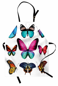 Vibrant Butterflies Set Apron