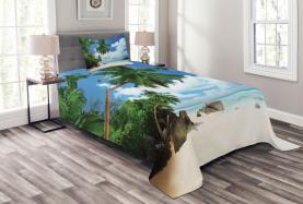 Kokosnuss-Baum-Strand Tagesdecke Set