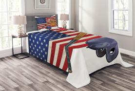USA Flagge und Baseball Tagesdecke Set