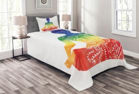 Kunstvolle Motive Regenbogen Tagesdecke Set
