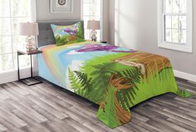 Holz Graspilz Art Tagesdecke Set