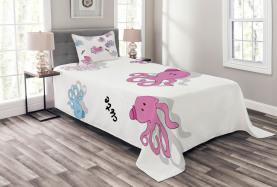 Niedliche Cartoon-Kraken-Kunst Tagesdecke Set