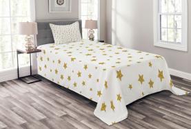 Gelbe Sterne Muster Tagesdecke Set