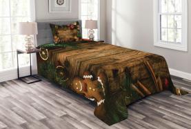 Rustikale Lodge Holz Tagesdecke Set