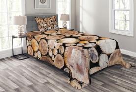 Holzscheite Eiche Tagesdecke Set