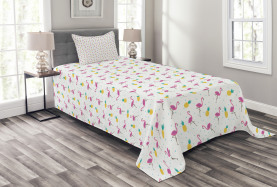 Flamingo and Pineapple Bedspread