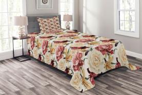 Watercolor Roses Peonies Bedspread
