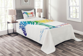 Zebra-Regenbogen-Farben Tagesdecke Set