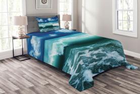 Karibik Seascape Wellen Tagesdecke Set