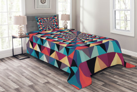Visuelle Patchwork Retro Tagesdecke Set