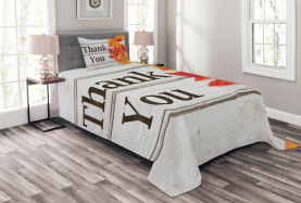 Laub auf Holzbohlen Tagesdecke Set