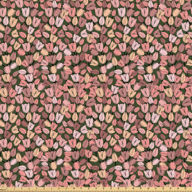 Retro Tulips Flowers Fabric by the Yard