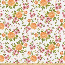 Peony Poppy Bridal Theme Fabric by the Yard