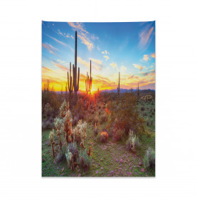 Sunset Between Cactuses Tapestry