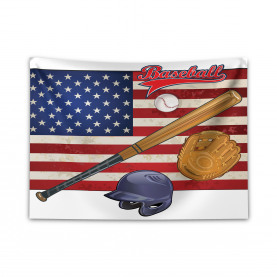 USA Flagge und Baseball Breiter Wandteppich