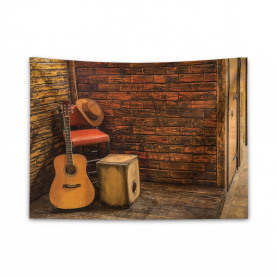 Wooden Stage Pub Cafe Wide Tapestry