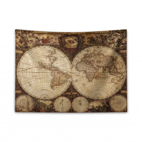 Historic Old Atlas Wide Tapestry