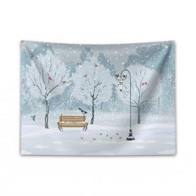 Schnee im Park Weihnachtsbäume Breiter Wandteppich