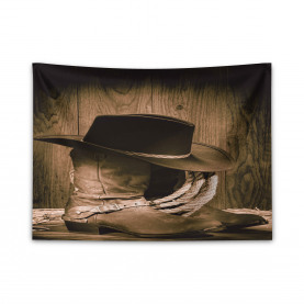 Wild Cowboy Hat Wooden Wide Tapestry