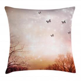Fantasy  Throw Pillow Case Butterflies Trees Sky Cushion Cover