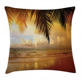 Sonnenuntergang Karibik Palmen Kissenbezug
