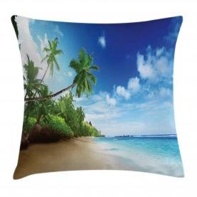 Strand Sonnenuntergang und Wellen Kissenbezug
