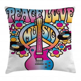 Colorful  Throw Pillow Case Peace Love Vinyl Music Cushion Cover