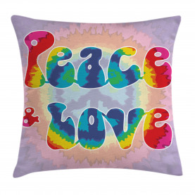 Hippie  Throw Pillow Case Youth Peace Love Tie Dye Cushion Cover