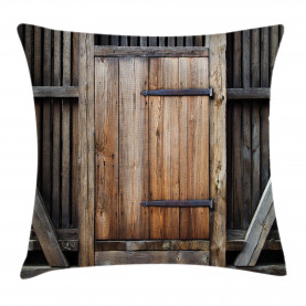 Antique  Throw Pillow Case Rustic Rural Wood Door Cushion Cover