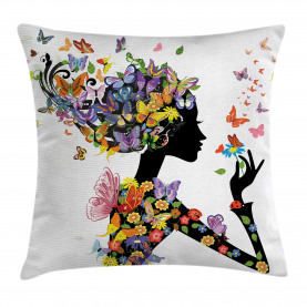 Colorful  Throw Pillow Case Flowers with Butterfly Cushion Cover