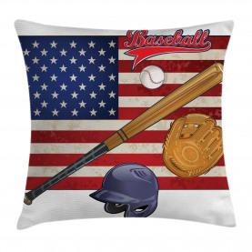 USA Flagge und Baseball Kissenbezug
