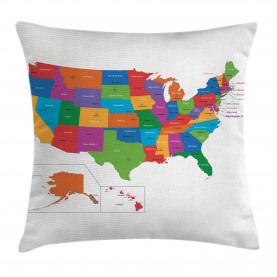 Colorful  Throw Pillow Case USA Map with States Cushion Cover