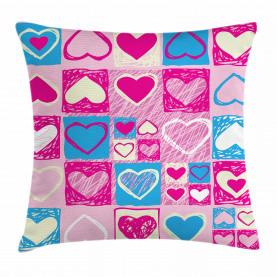 Herzen in quadratischer Form Kissenbezug