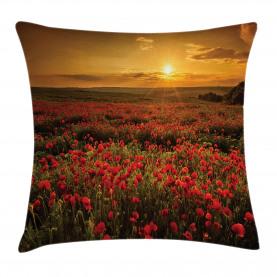 Sonnenuntergang Wiese Ackerland Kissenbezug
