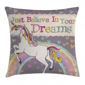 Unicorn  Throw Pillow Case Believe In Your Dreams Cushion Cover