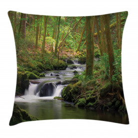 River  Throw Pillow Case Forest over Mossy Rocks Cushion Cover