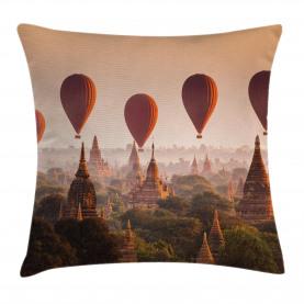 Hot Air Balloon Myanmar Throw Pillow Cushion Cover