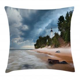 Michigan USA Lakeshore Throw Pillow Cushion Cover