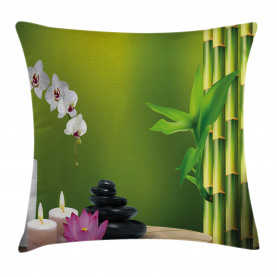 Bambus Blume Orchidee Stein Kissenbezug
