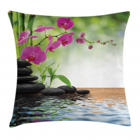 Bambus-Baum-Orchideen-Steine Kissenbezug