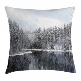 Winter  Throw Pillow Case Trees in Cold Day Lake Cushion Cover