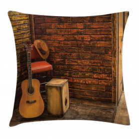 Wooden Stage Pub Cafe Throw Pillow Cushion Cover