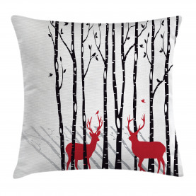 Antlers  Throw Pillow Case Deer Tree Forest Bird Cushion Cover