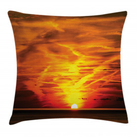Sonnenuntergang über Horizont-Meer Kissenbezug