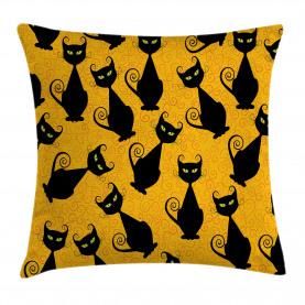 Schwarze Katze Vintage Kissenbezug