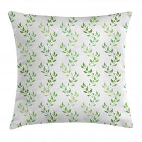 Symmetrische Olivenblätter Kissenbezug